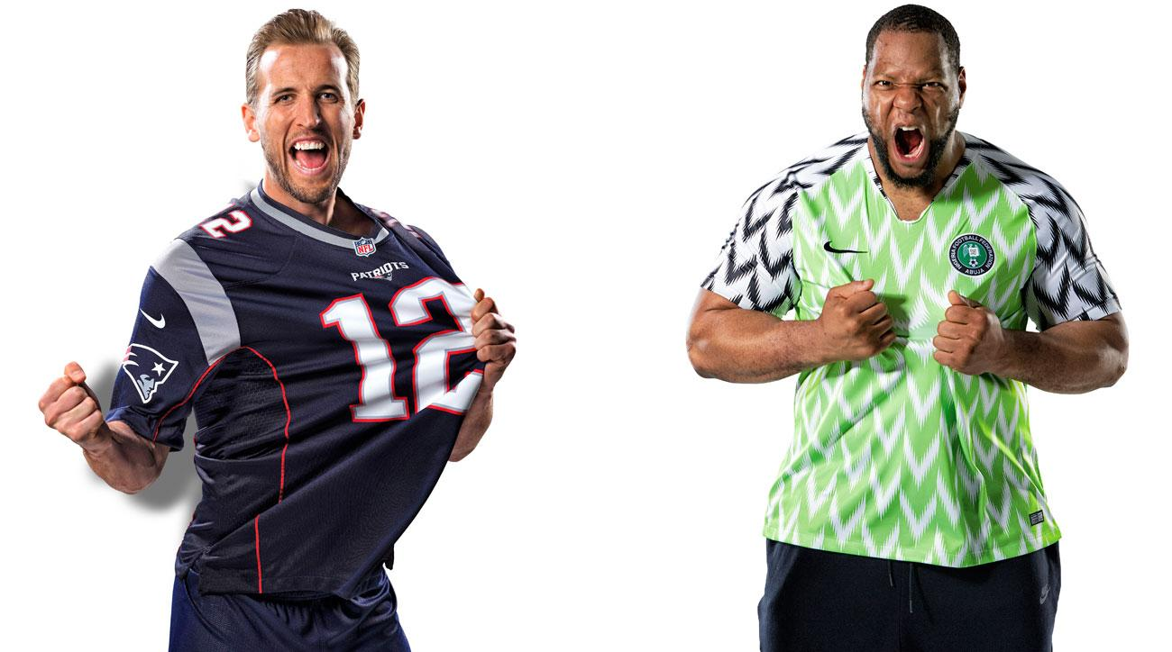 Harry Kane is a huge New England Patriots fan, while Ndamukong Suh dons the new Nigeria kit