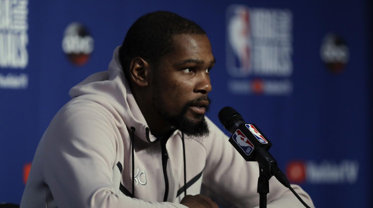 86e98a54858643 Kevin Durant sweatpants  Why he prefers them over suits at Finals ...