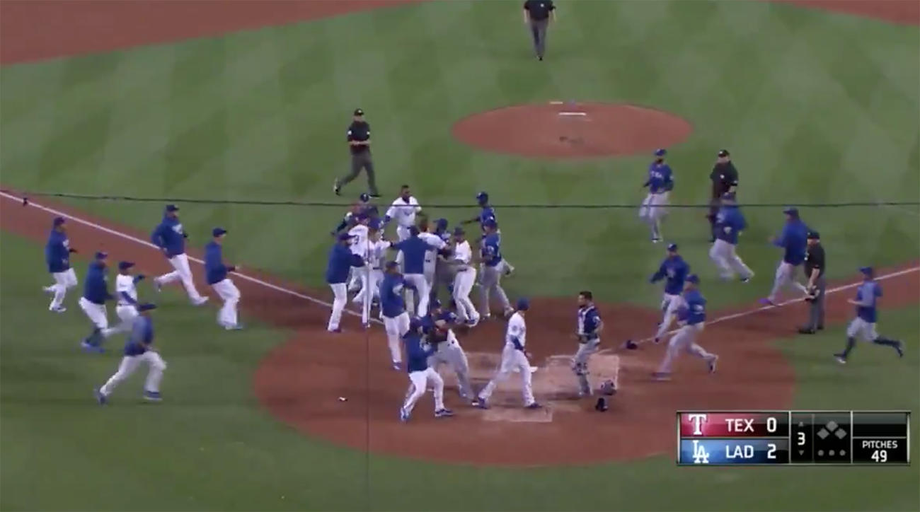 Collision at home plate sparks bench-clearing brawl between Dodgers, Rangers