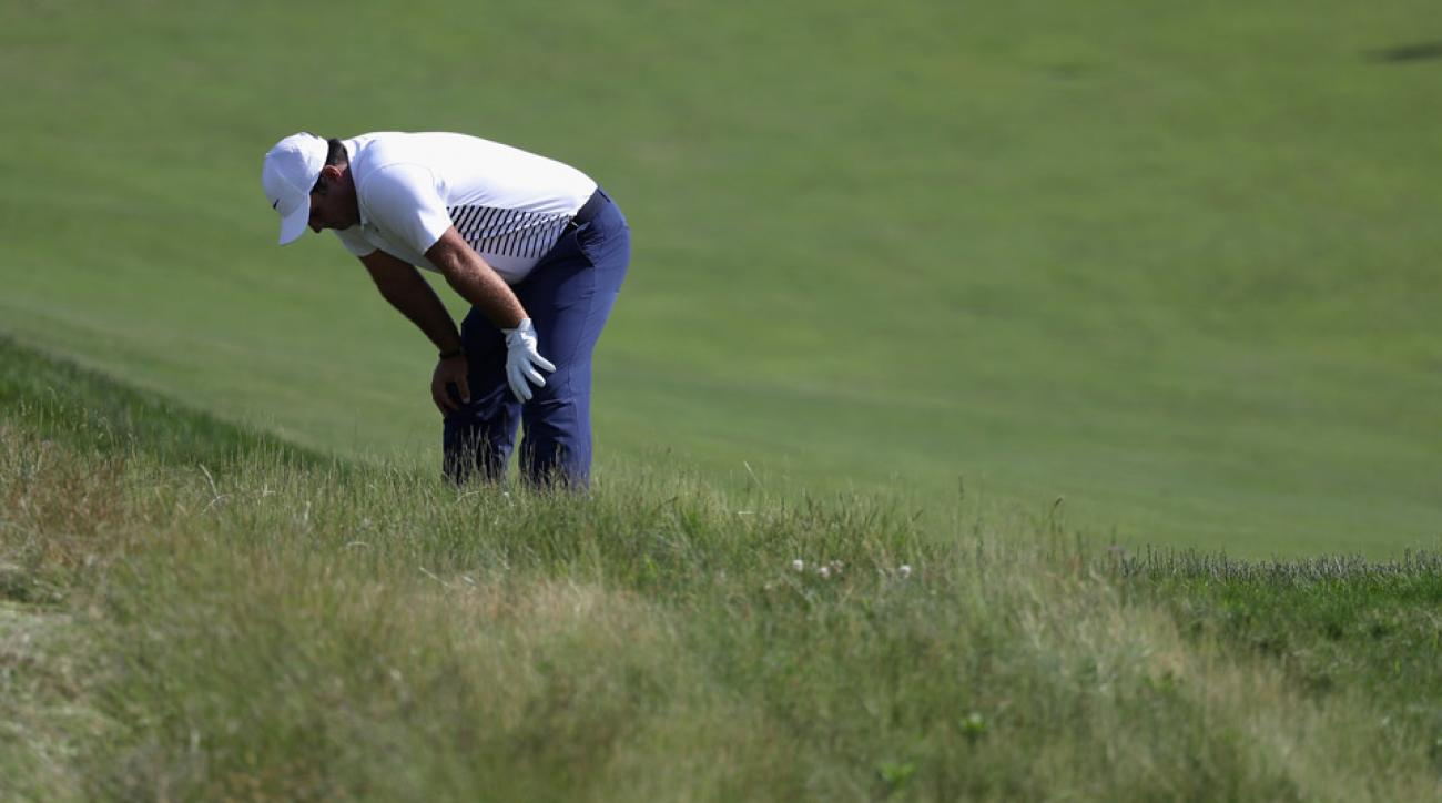 Patrick Reed reacts to a missed putt on the 13th green during the final round of the 2018 U.S. Open at Shinnecock.