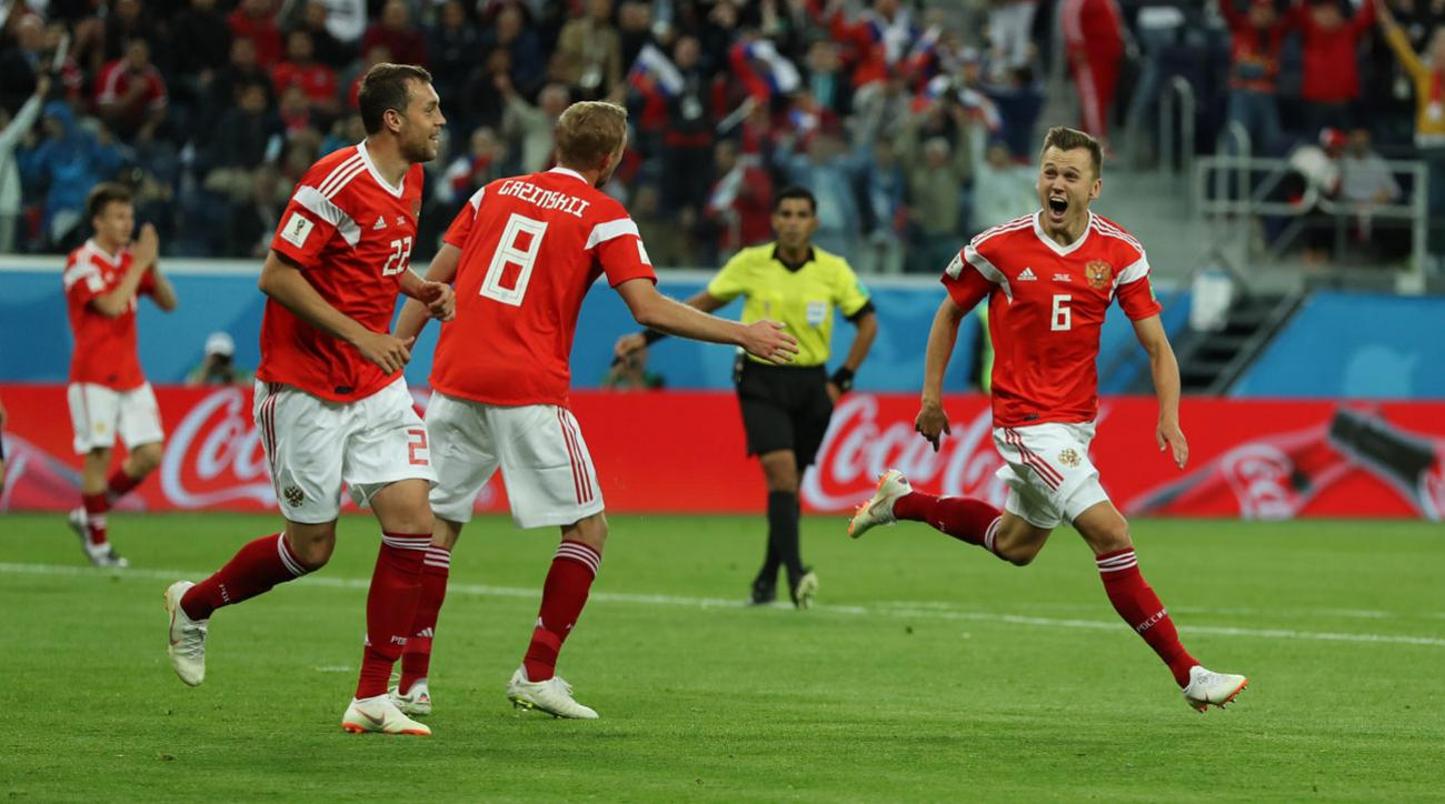 Russia's Denis Cheryshev scores vs. Egypt at the World Cup