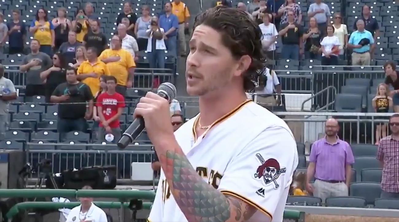 Pirates Steven Brault Sings National Anthem, pirates, Steven Brault, Brewers, pirates brewers