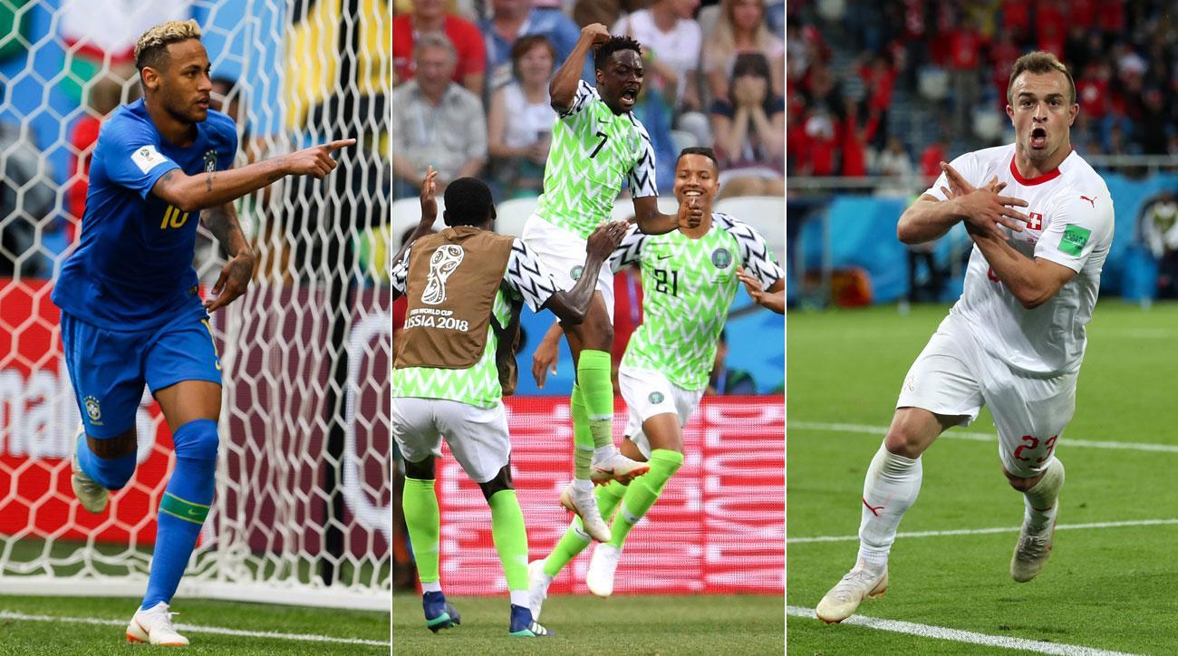 Neymar, Ahmed Musa and Xherdan Shaqiri all scored in World Cup wins