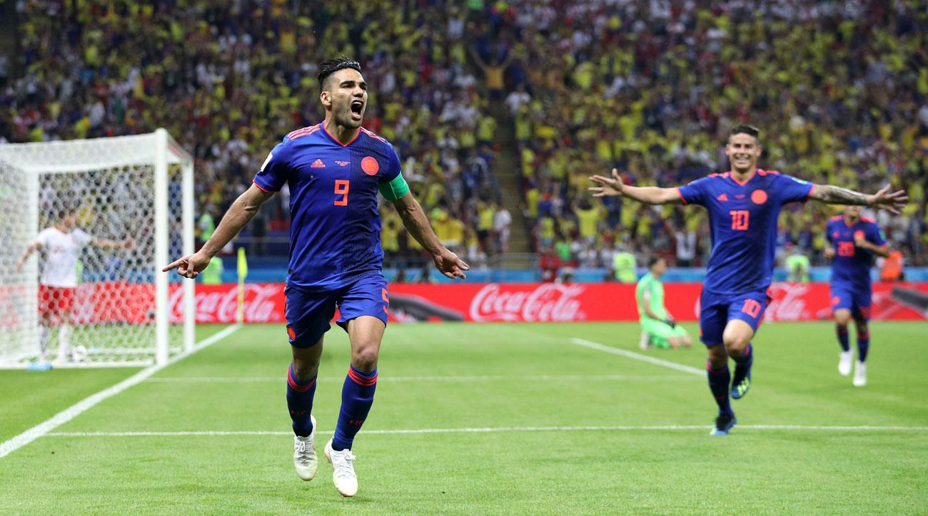 Radamel Falcao scores for Colombia vs. Poland at the World Cup