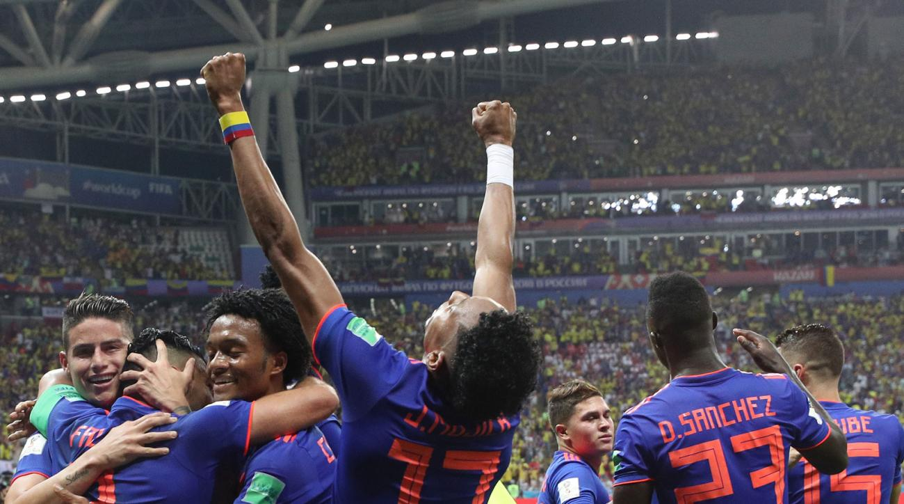 Colombia celebrates a goal vs. Poland at the World Cup