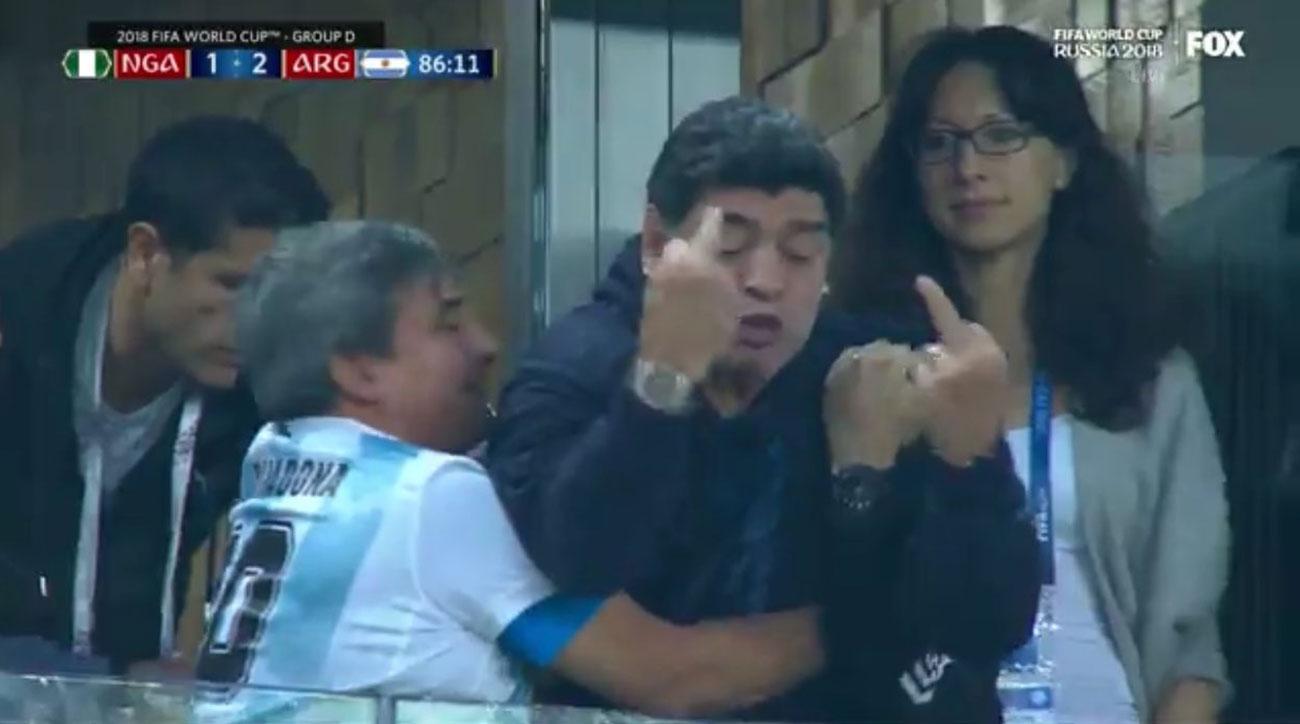 diefo maradona double middle finger argentina goal nigeria