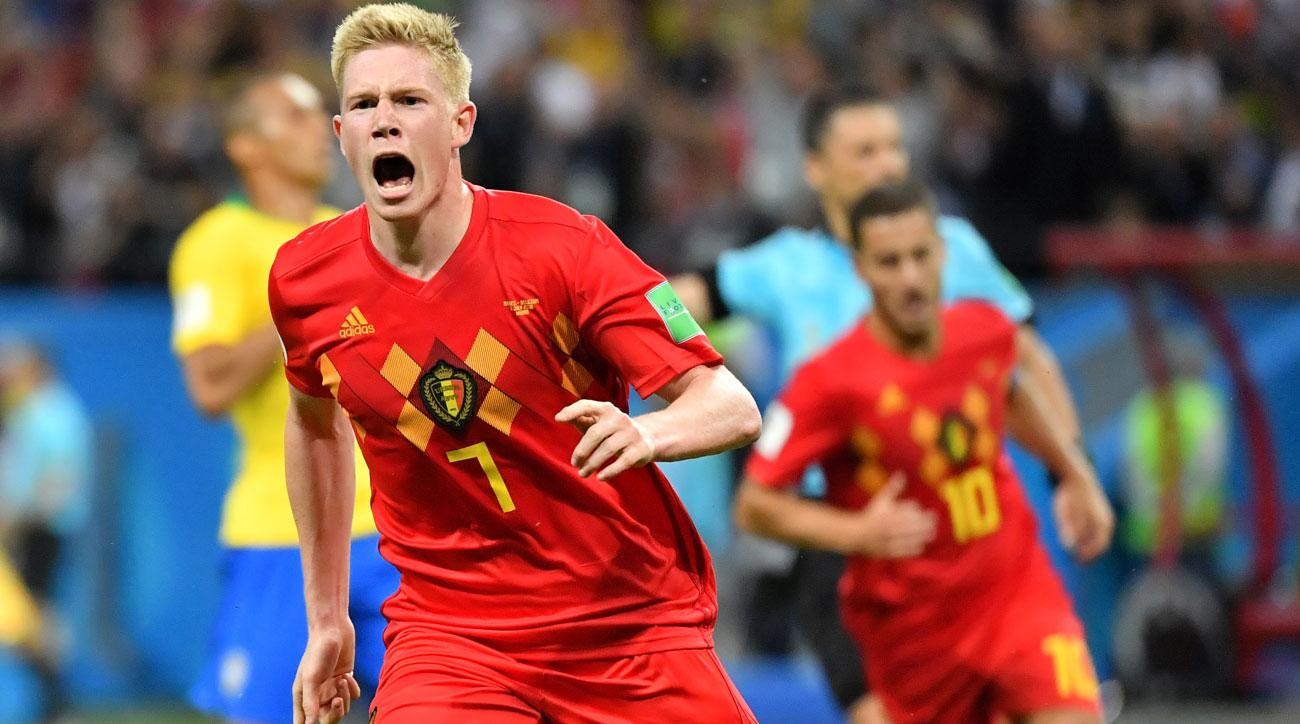 Kevin De Bruyne scores for Belgium vs. Brazil in the World Cup quarterfinals