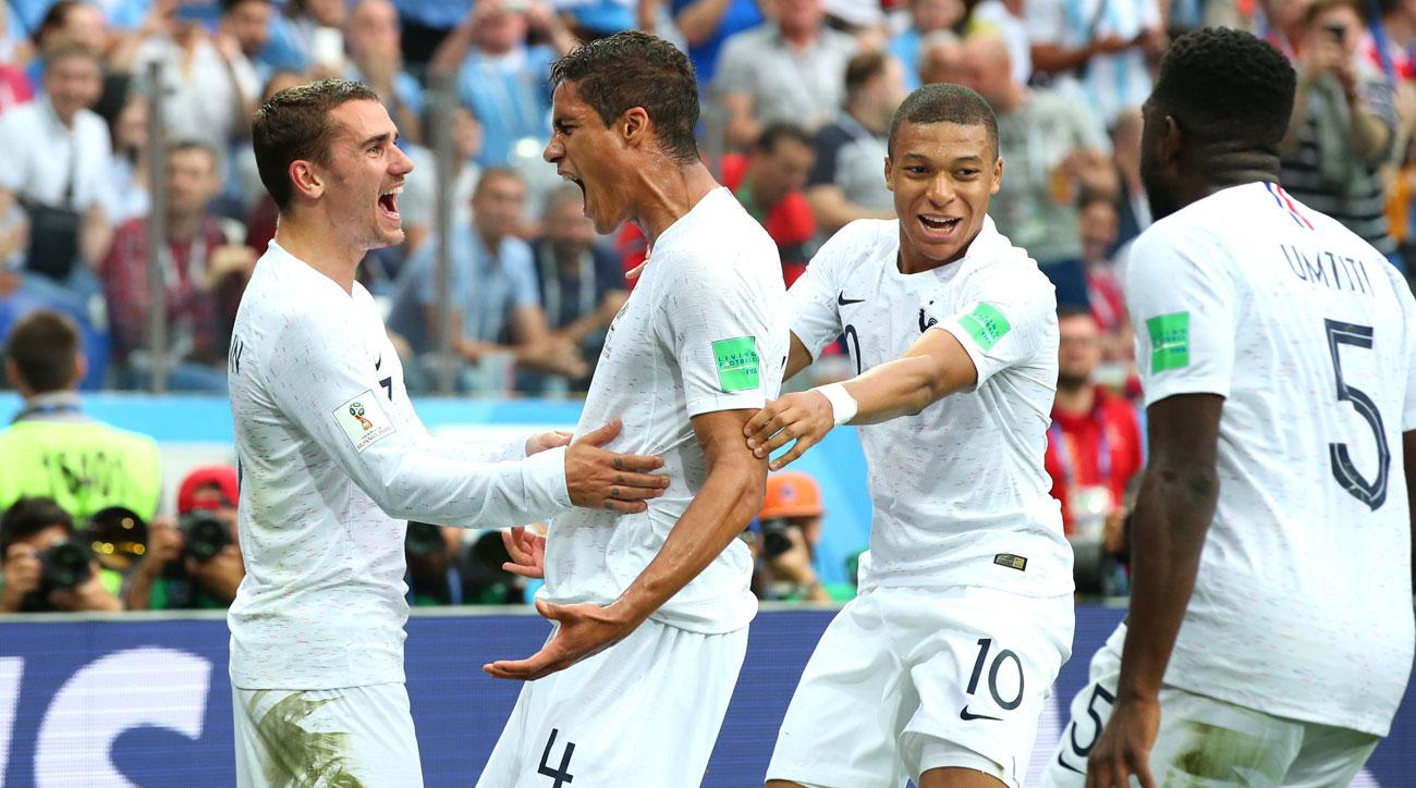 Raphael Varane scores for France vs. Uruguay in the World Cup quarterfinals