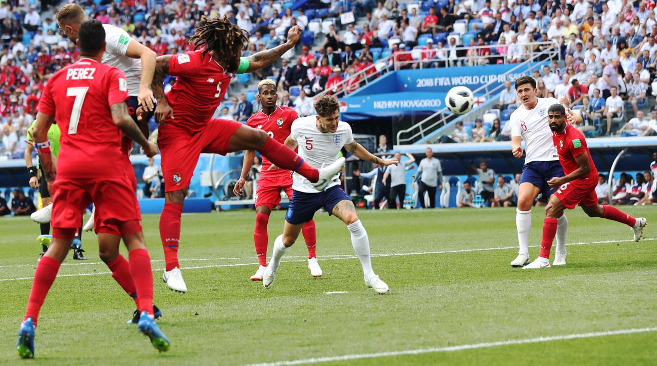 John Stones scores for England vs. Panama at the World Cup