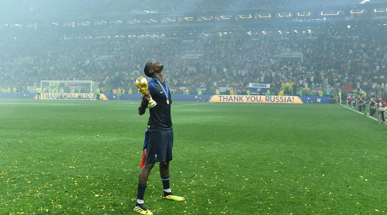 Paul Pogba looks skyward after France's win in the World Cup final.