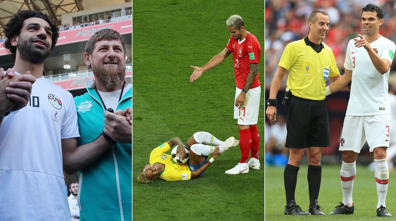 Mohamed Salah, Neymar and Mark Geiger were involved in contentious moments at the World Cup
