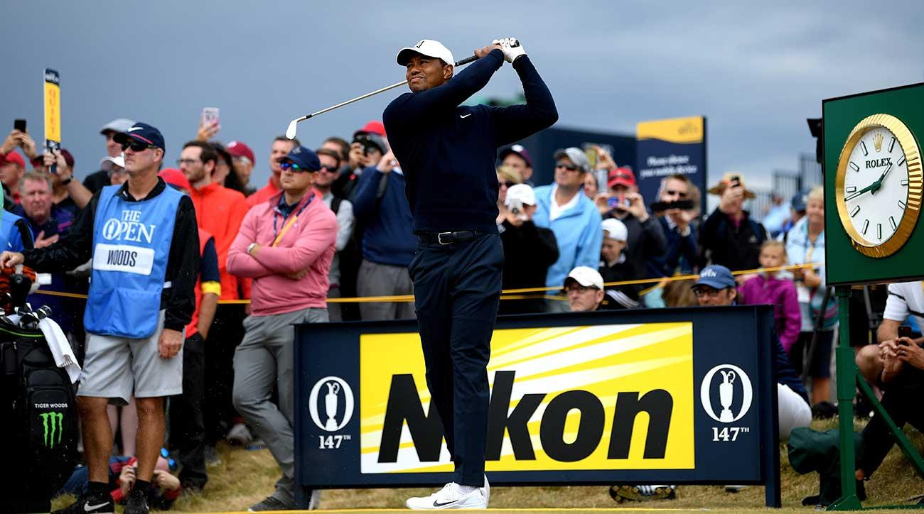 Tiger Woods tees off during a practice round at Carnoustie prior to the 147th British Open.