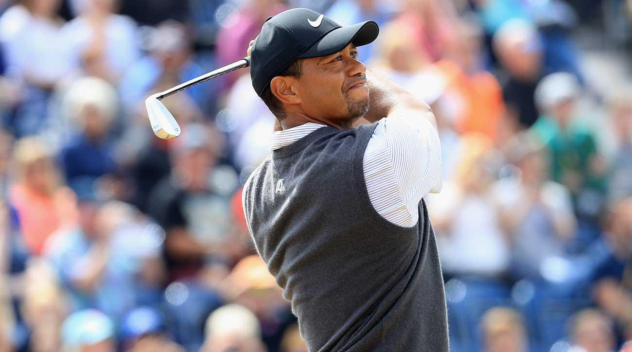 Tiger Woods watches a tee shot during his third round of the British Open.