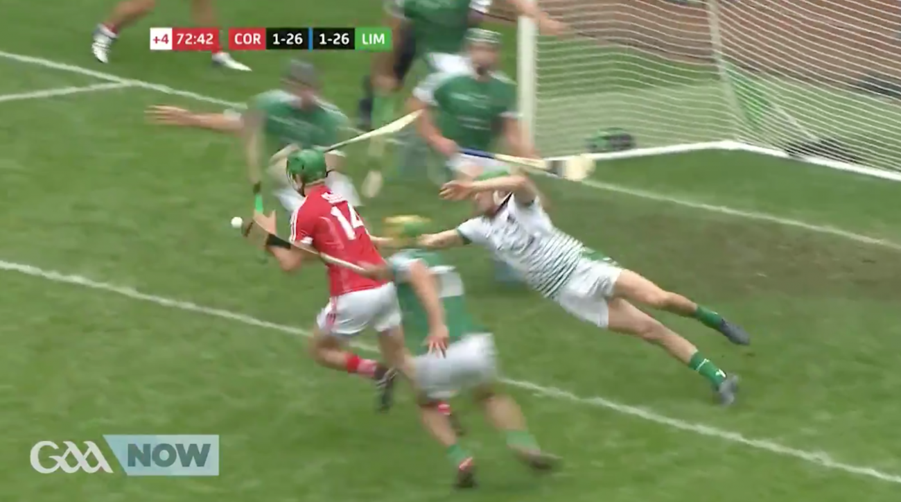 Nickie Quaid's save in Limerick-Cork hurling semi-final (video)