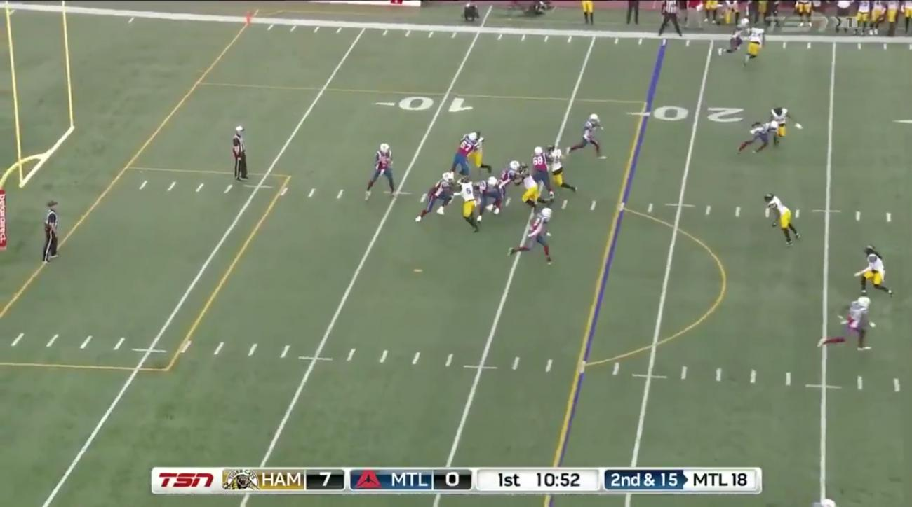 Johnny Manziel throws INT on his first CFL pass
