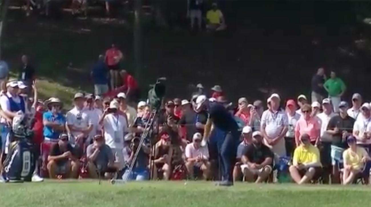 Dustin Johnson PGA Championship hit by ball bellerive