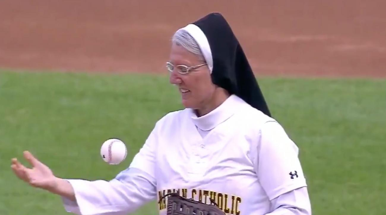 Nun's awesome  first pitch before White Sox game