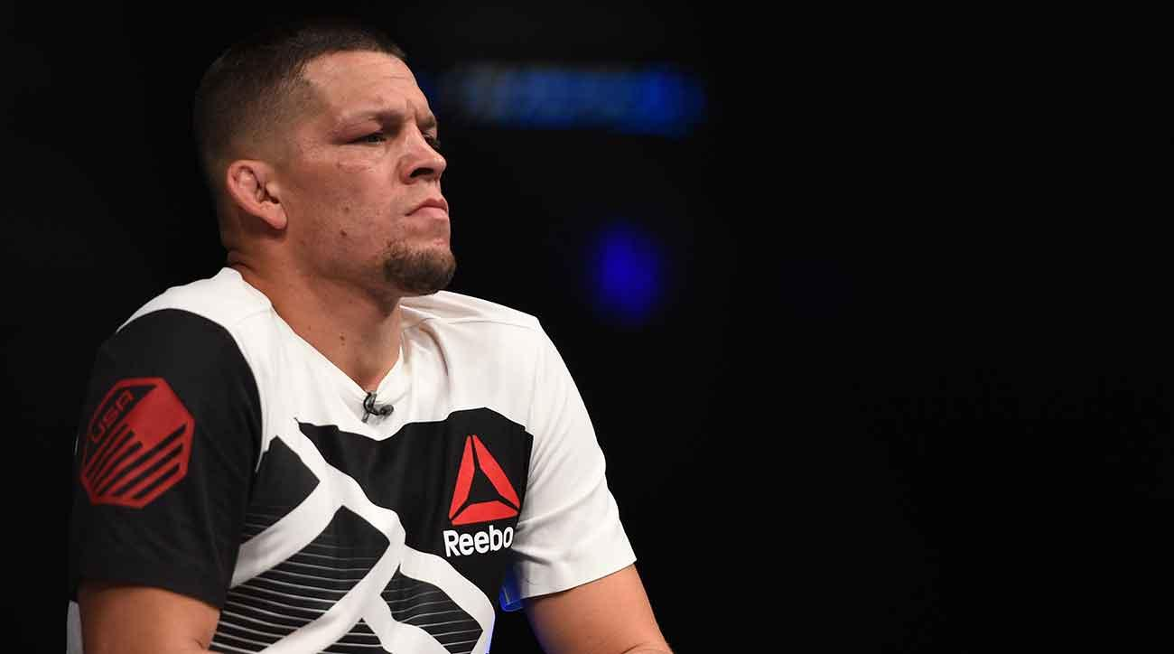 Nate Diaz watches as teammate Chris Avila of the United States enters the Octagon before facing Enrique Barzola of Peru in their featherweight bout during the UFC Fight Night event at Arena Ciudad de Mexico on November 5, 2016 in Mexico City, Mexico. (Photo by Jeff Bottari/Zuffa LLC/Zuffa LLC via Getty Images)