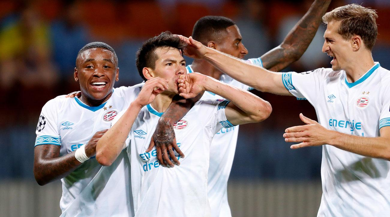 Hirving Lozano scores for PSV vs. BATE in a Champions League qualifier