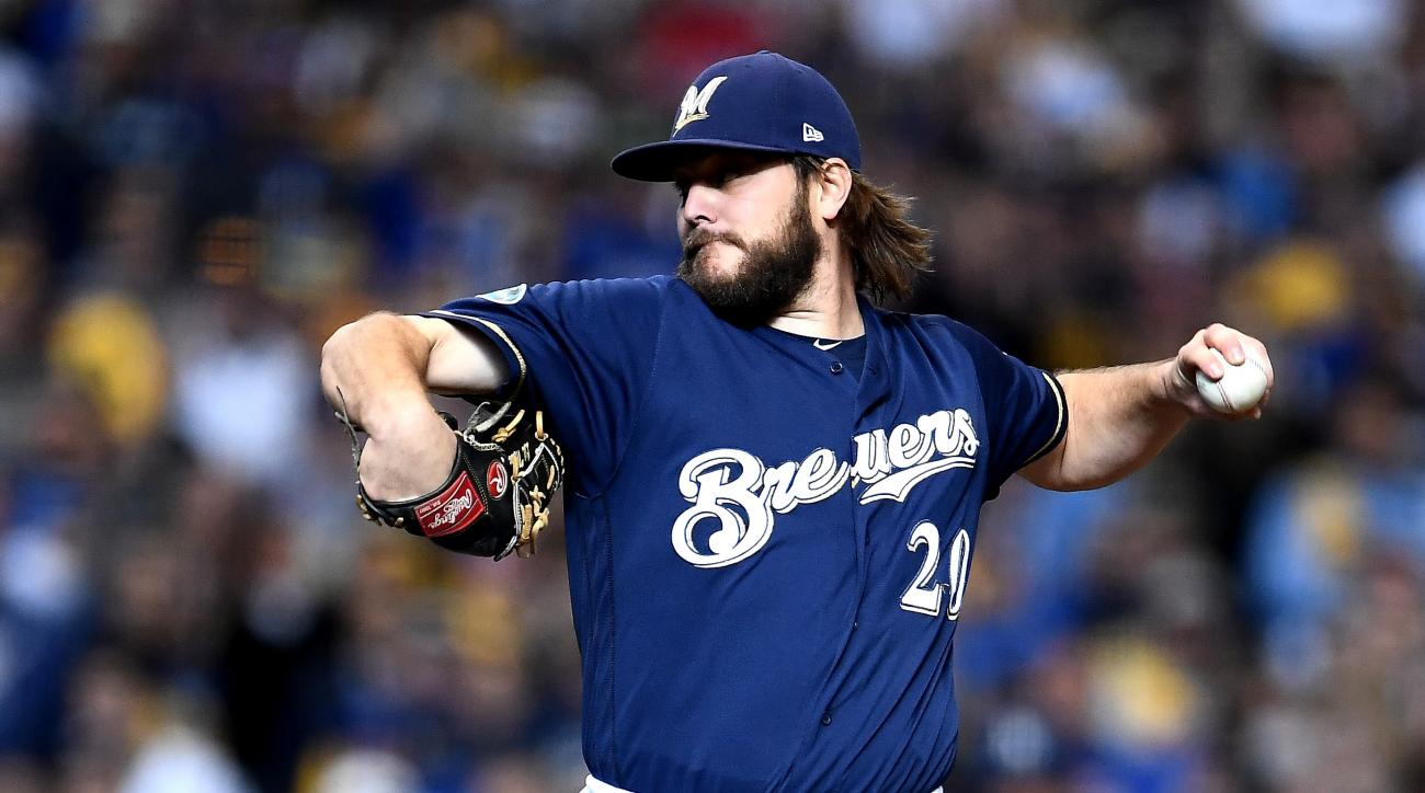 Brewers starter Wade Miley pulled after five pitches