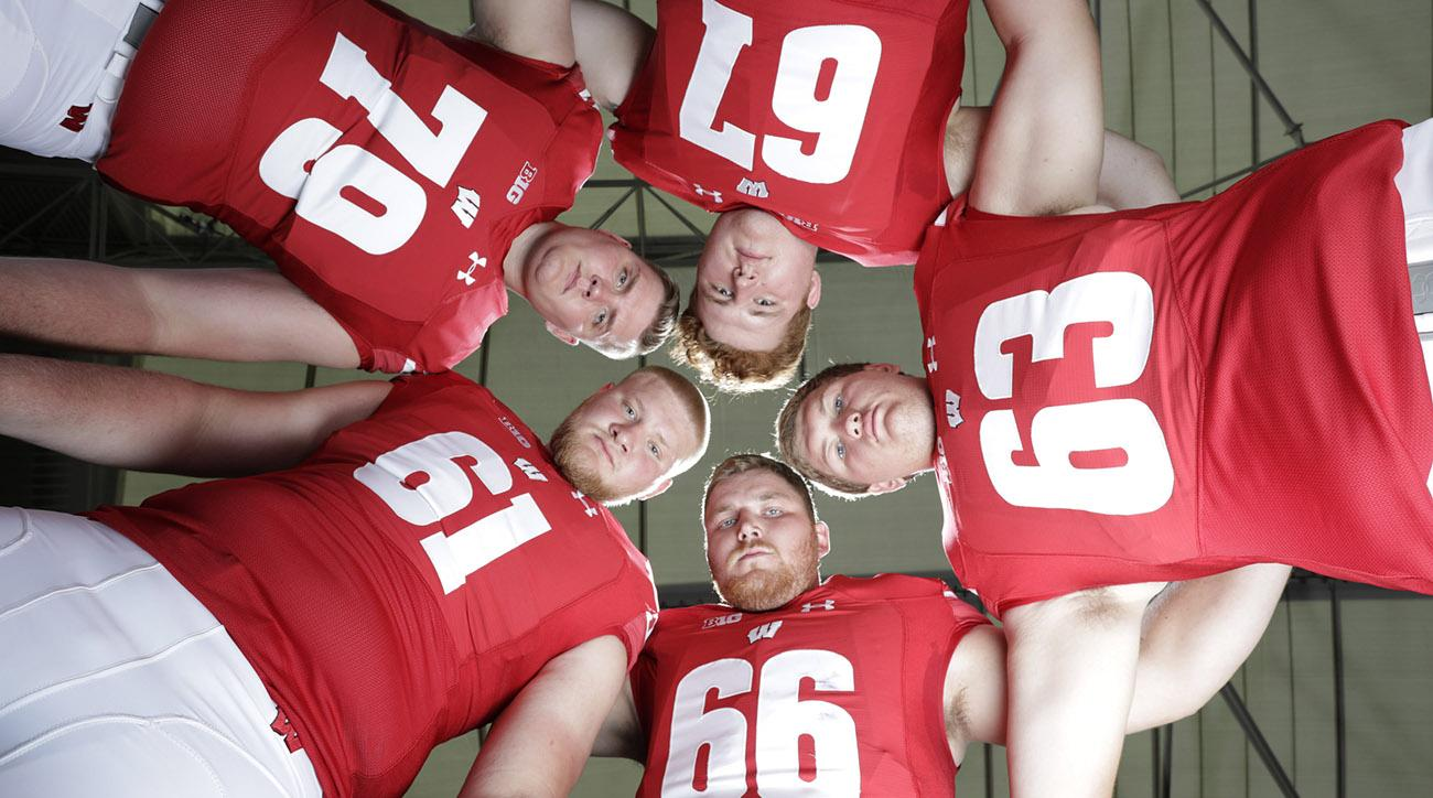 Wisconsin's front five: Jon Dietzen (67), Michael Deiter (63), Beau Benzschawel (66), Tyler Biadasz (61) and David Edwards (79)