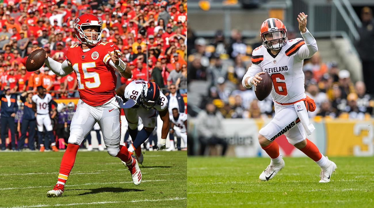 Chiefs QB Patrick Mahomes and Browns QB Baker Mayfield