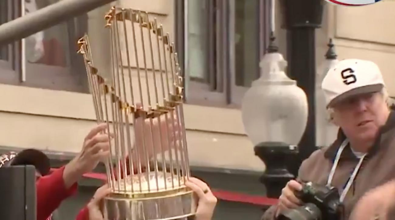Fan Damages Red Sox' World Series Trophy by Throwing Beer Can at It