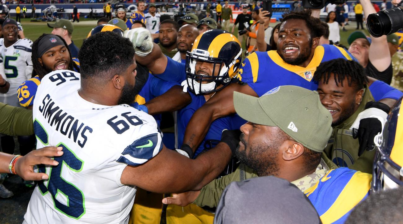Aaron Donald fight video  Rams DL goes for Seahawks  Justin Britt ... 648b41439