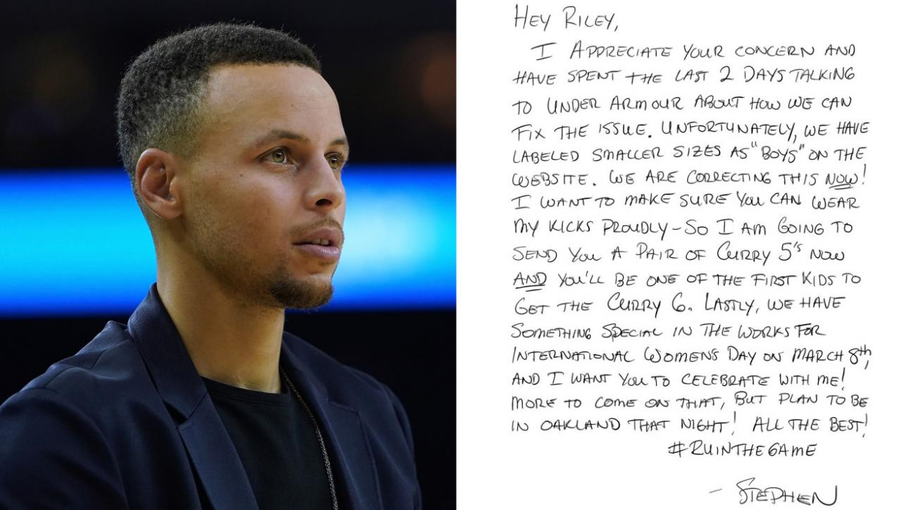 d924afe79ea2 Nine-year-old s letter prompts Steph Curry to add girls  shoe sizes ...