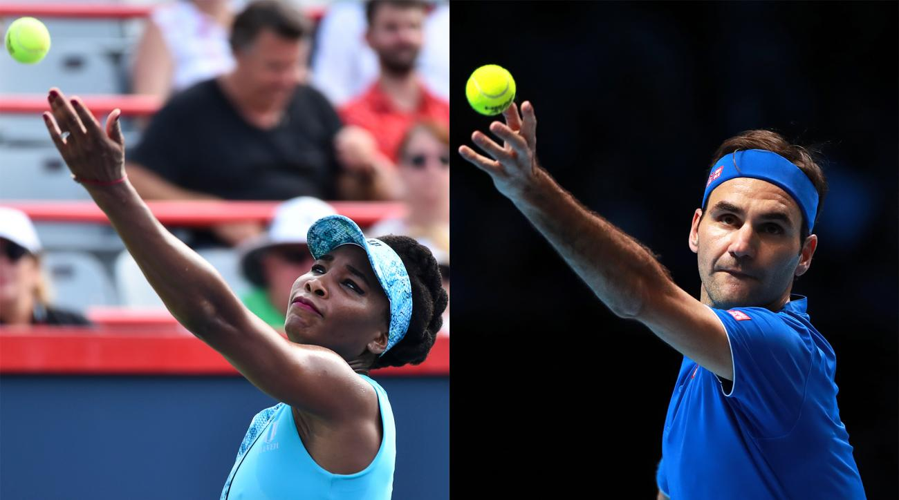 Venus Williams Roger Federer serve