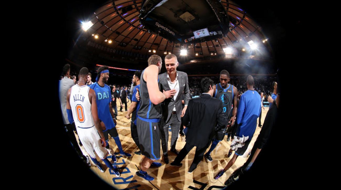 949bed529 Kristaps Porzingis trade  NBA Twitter mocks Knicks