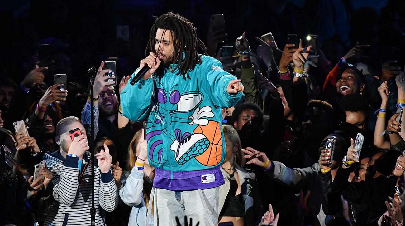 Rapper J.Cole perfored the haltime show at the 68th NBA All-Star Game on Sunday in Charlotte, N.C.