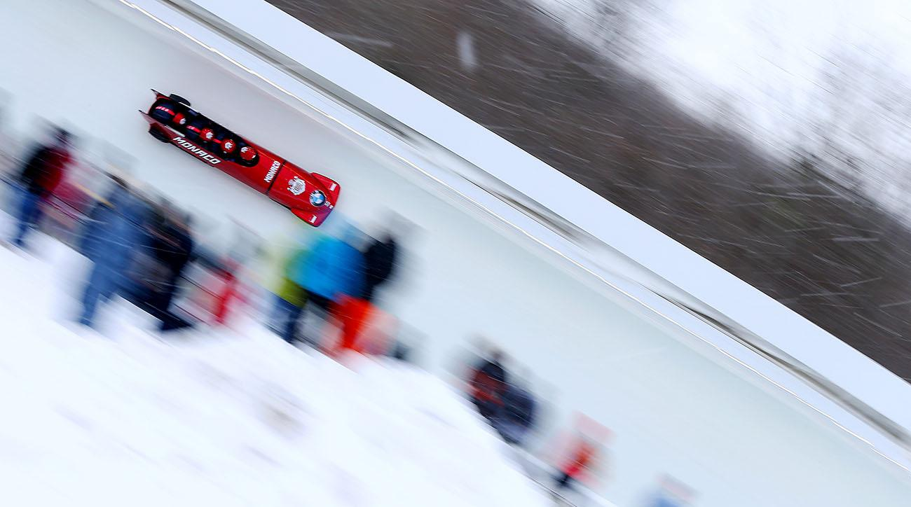 bobsled almost hits track worker, World Cup bobsled event, lake placid, monaco, canada, BMW International Bobsleigh and Skeleton Federation World Cup, BMW IBSF World Cup, IBSF, International Bobsleigh and Skeleton Federation