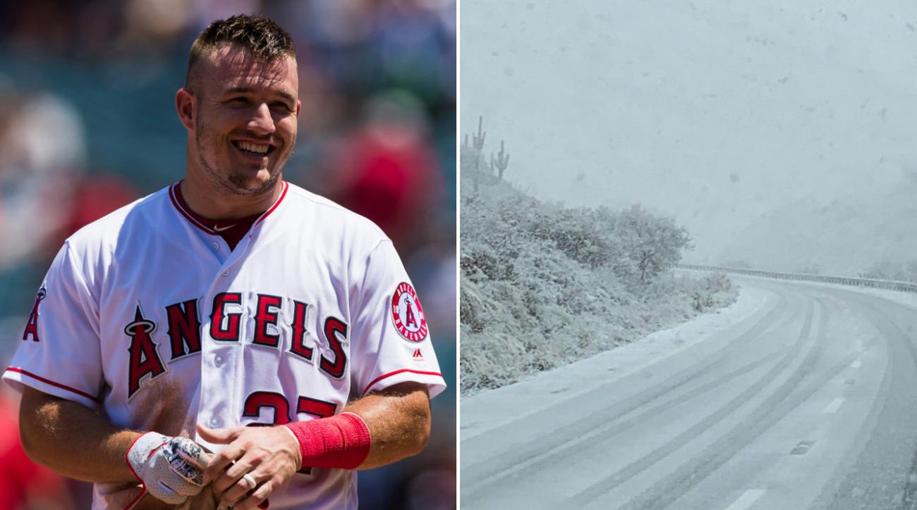 Mike Trout: Angles CF chases Arizona snow storm (photo, video)