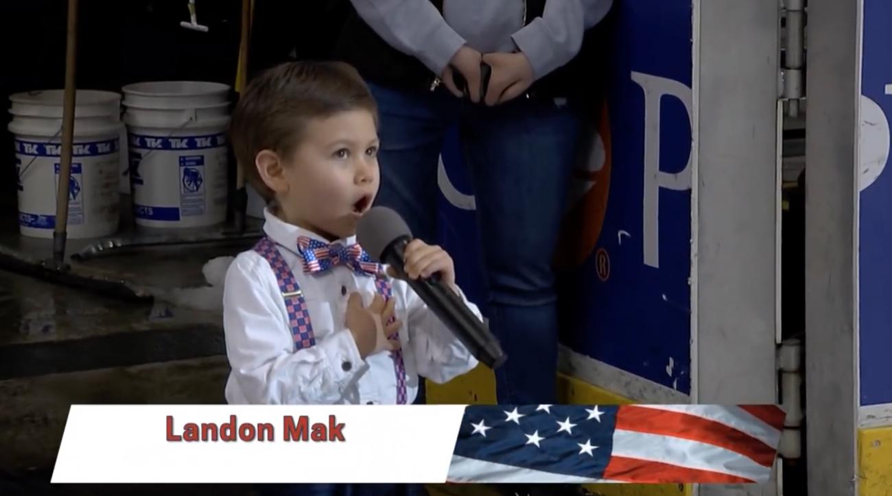 Landon Mak sings national anthem at Hershey Bears game (video)