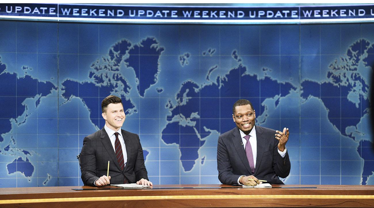 snl, Colin Jost, michael che, wrestlemania, andre the giant memorial battle royal, WWE, braun strowman