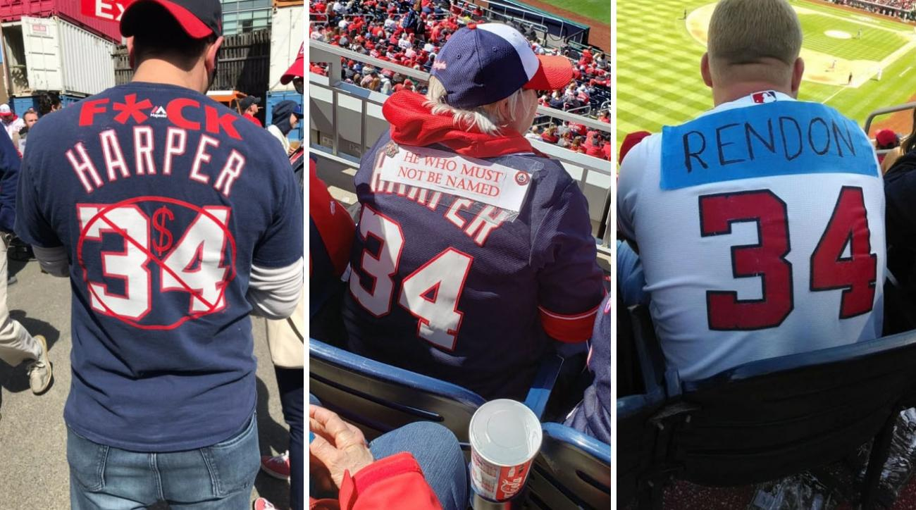 huge selection of 6ae1b 1b410 Nationals fans wear altered Bryce Harper jerseys on Opening ...