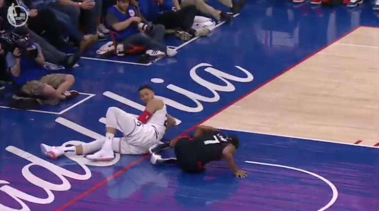 Ben Simmons Kyle Lowry in groin