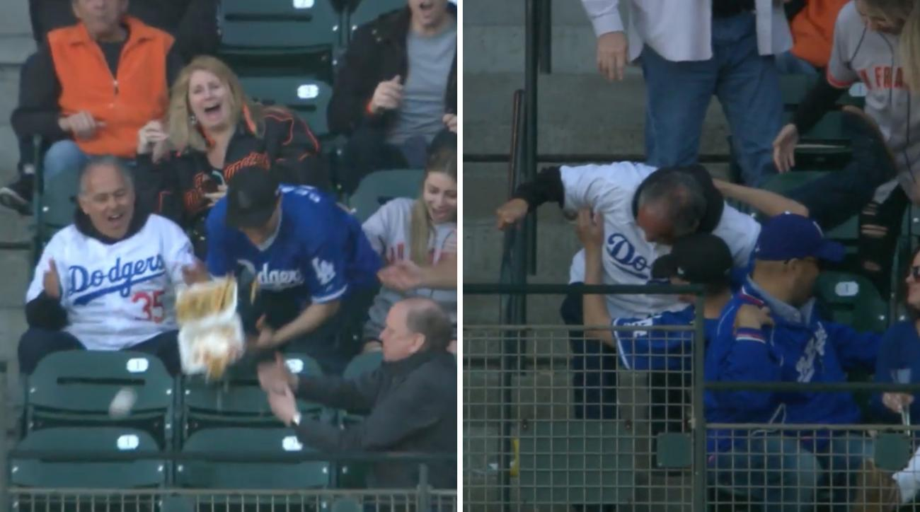 Dodgers fan loses fries, pizza at Giants game (video)