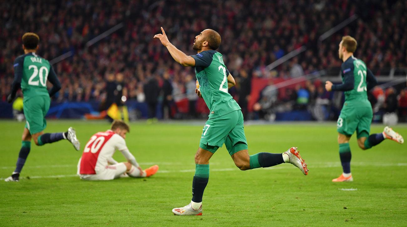 Lucas Moura scores for Tottenham vs. Ajax in Champions League