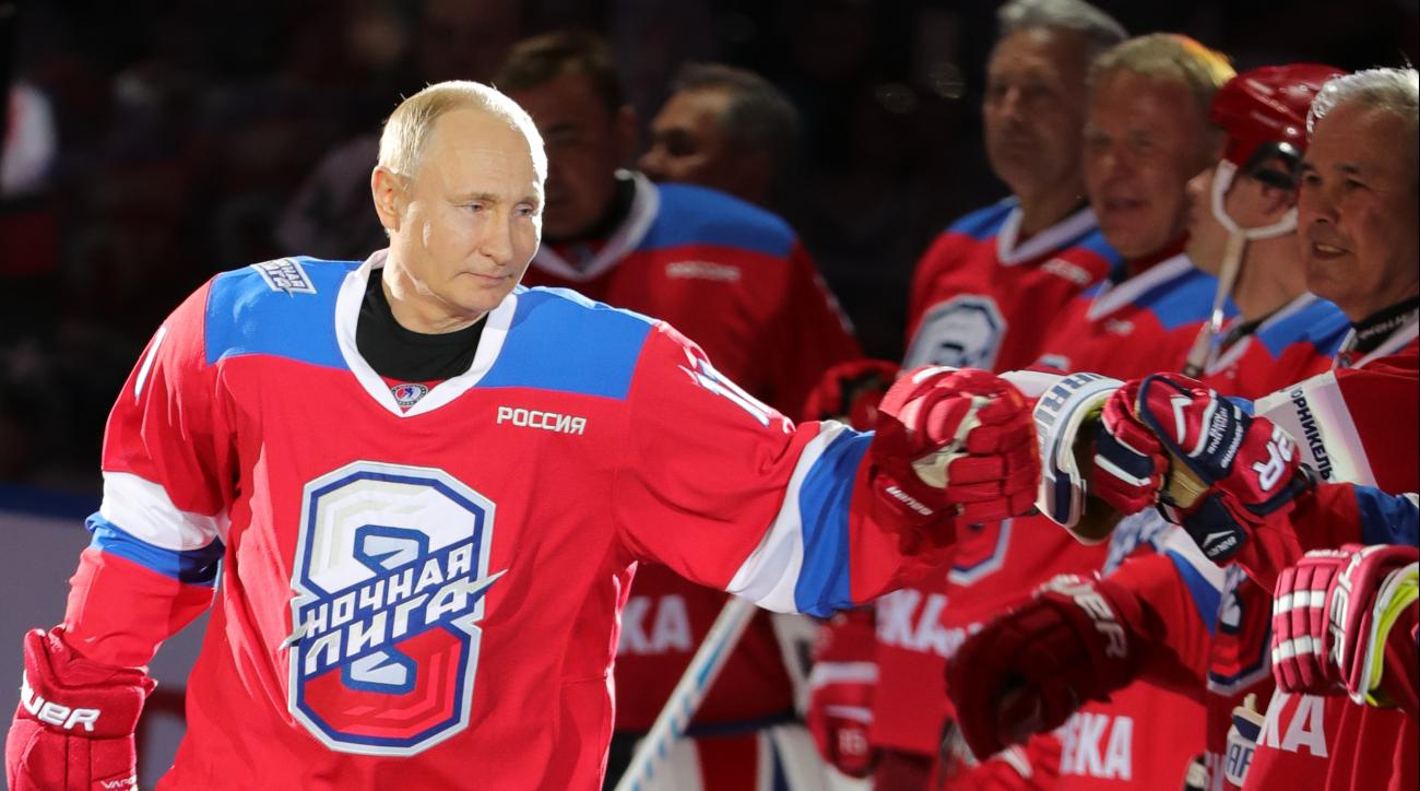Watch: Vladimir Putin Wipes Out on Ice After Eight-Goal Performance in Sochi Exhibition