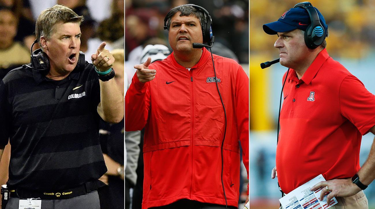 Ole Miss coaching staff: Matt Luke, Mike MacIntyre, Rich Rodriguez