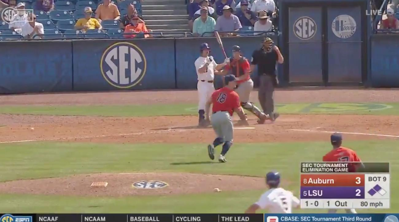 LSU Beat Auburn on the Weirdest Play of the SEC College Baseball Tournament