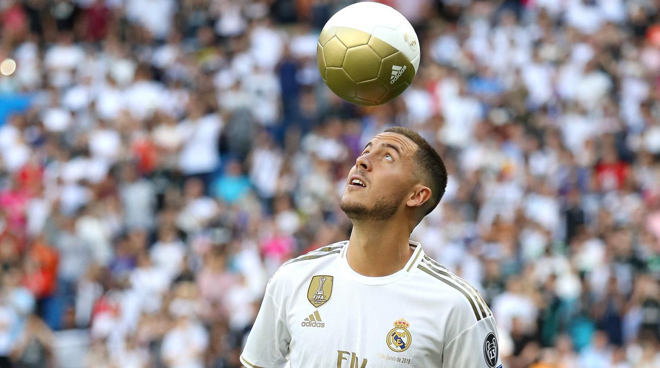 Eden Hazard was unveiled at the Bernabeu