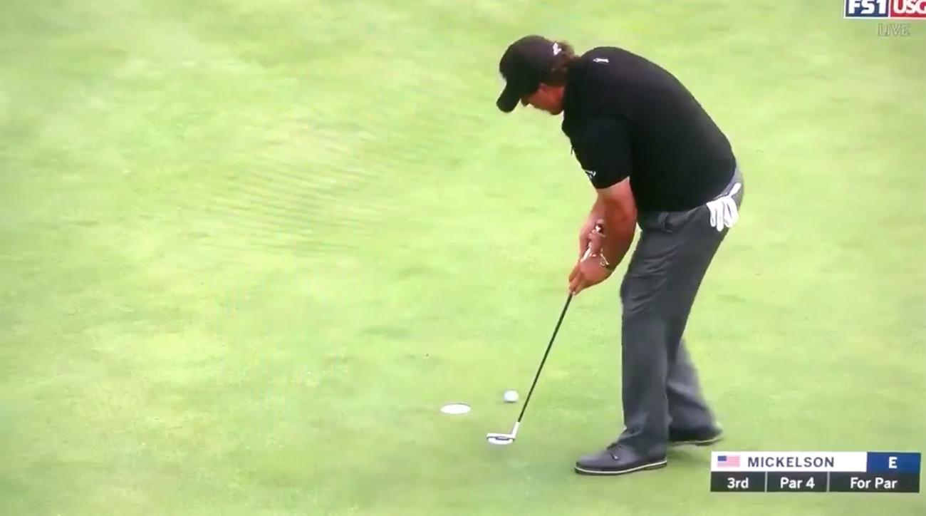 Phil Mickelson misses short putt us open