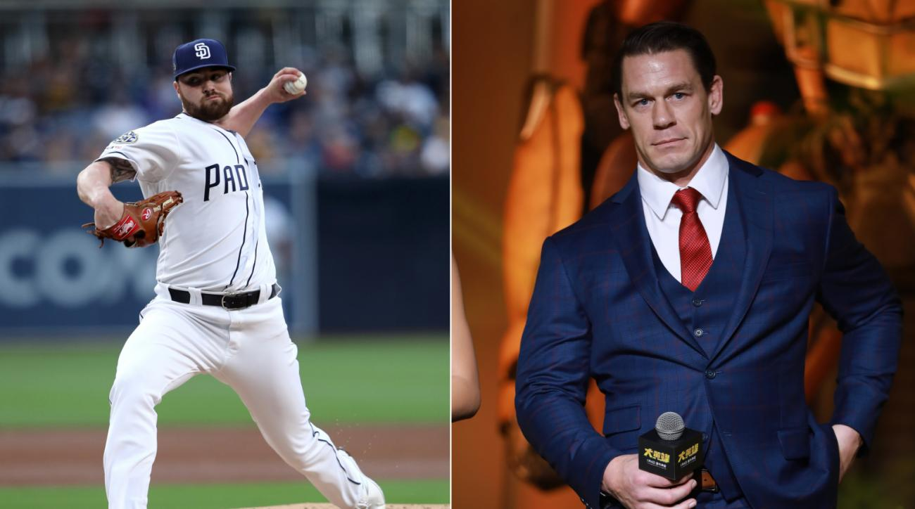 John Cena Attends Debut for Padres Rookie Logan Allen To Make Good On $1 Bet
