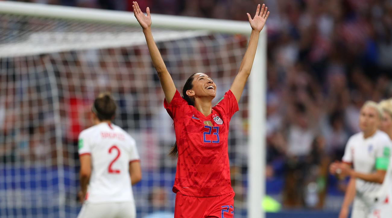 Christen Press celebrates her goal for the USA vs. England in the Women's World Cup semifinals