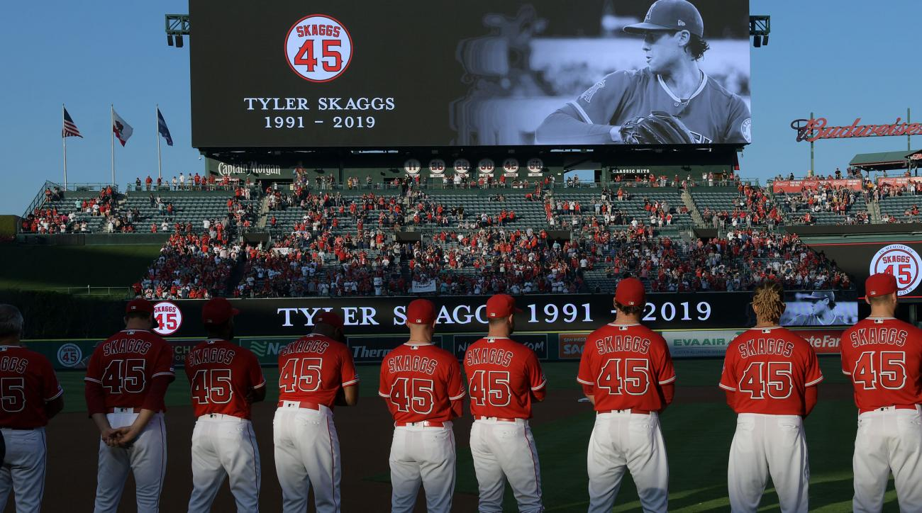 Angels lay Tyler Skaggs jerseys on mound after combined no-hitter