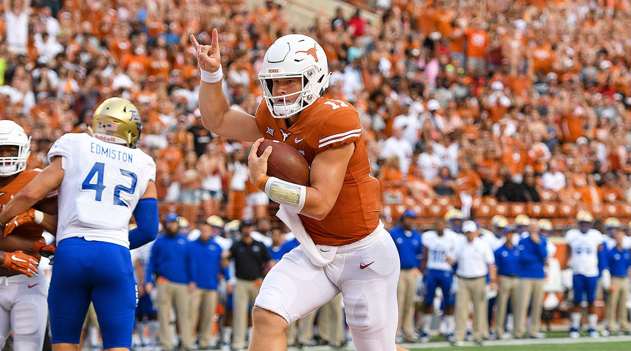 College football odds betting Texas over under wins Sam Ehlinger