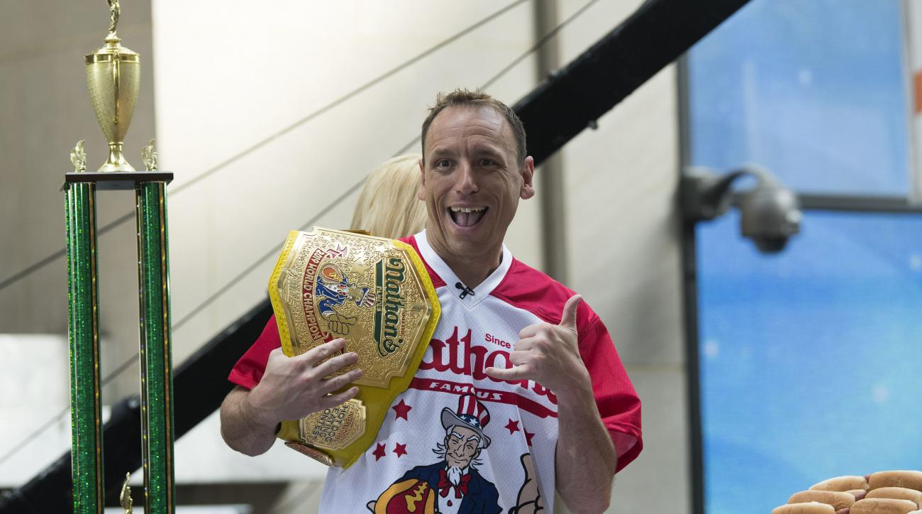 Joey Chestnut ate too many chicken wings